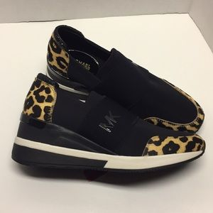 Michael Kors leopard wedge sneakers
